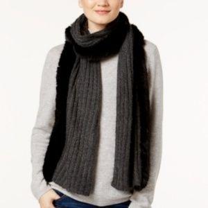 NWT DKNY Faux Fur & Knit Scarf